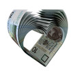 10 PLN Notes in a Heart Shape