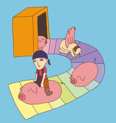 ベルトコンベアーと豚