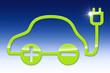 E-Car auf blauem Hintergrund