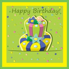 Vector birthday cake . Greeting Card.