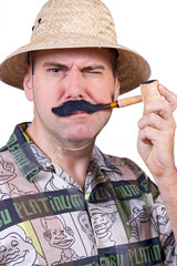 The frown traveler with tobacco pipe