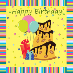 A birthday greeting card. Vector illustration, the background