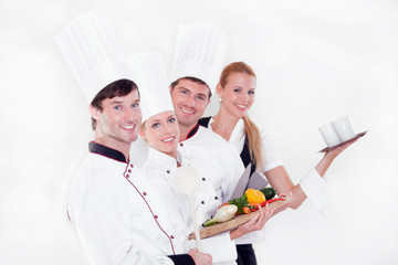 Team of happy chefs
