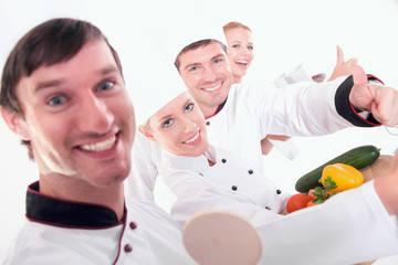 Confident restaurant staff