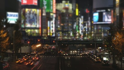 Time lapse and miniature like landscape in Shinjuku,Tokyo,Japan