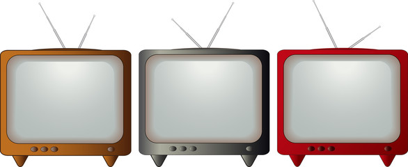 set isolated colorful retro TV