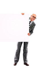 young business man showing blank signboard