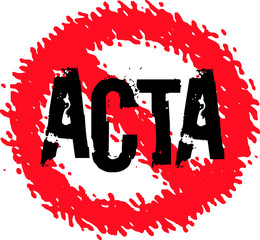 Stop ACTA symbol Vector - grunge style