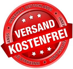 """Button Banner """"Versandkostenfrei innerhalb D"""" rot"""