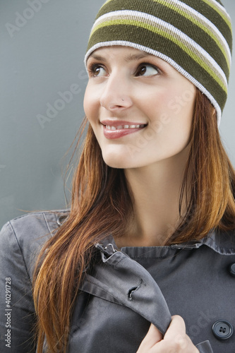Young woman smiling, close-up