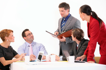 Young businessman with colleagues