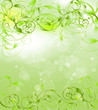 Green background with decorative ornaments.