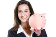 Close-up of young woman holding piggy bank