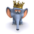3d Elephant in gold crown face forward