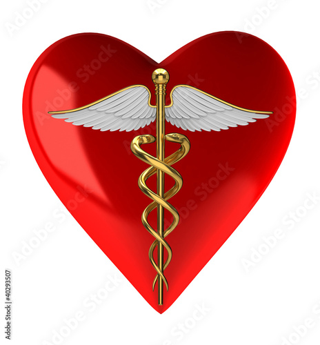 Caduceus medical symbol on red heart