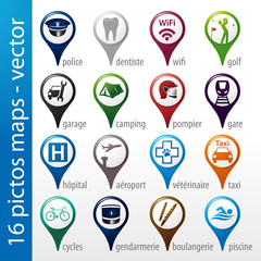 set 16 icons, pictos, symboles, logos, maps