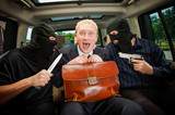 businessman grasped in hostages. poster