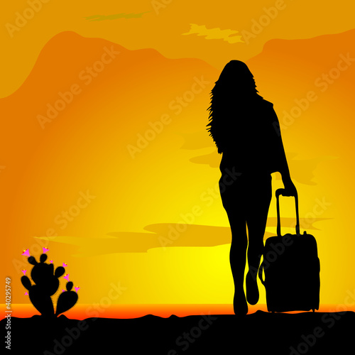 cactus black with pink flower and girl vector illustration
