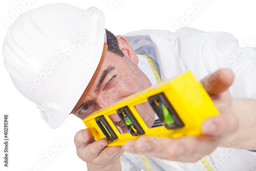 engineer using a level