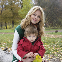 Mother with son smiling, portrait