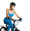 Woman riding a bike isolated on white