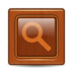 Wooden zoom button. Vector
