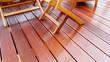 Leinwanddruck Bild - Holzmöbel auf geölter Bangkirai Terrasse