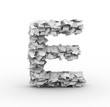 Letter E, stacked from paper sheets