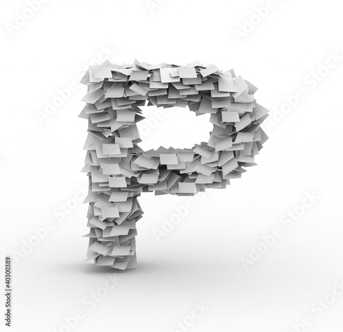 Letter P, stacked from paper sheets