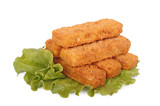 Fish sticks on lettuce