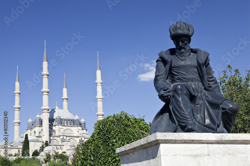 Selimiye Mosque and statue of its architect Mimar Sinan