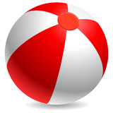 Fototapety Red and white beach ball isolated on white.