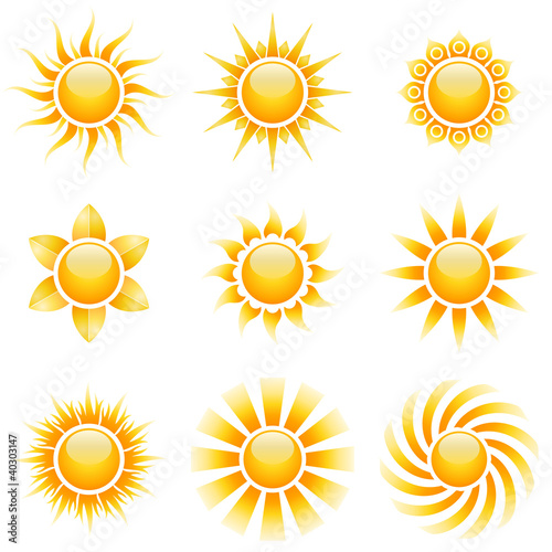 Yellow sun vector icons isolated on white.