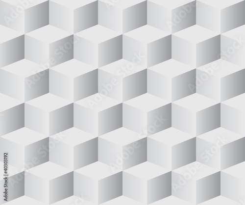 Seamless 3D white cubes vector background.