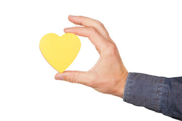 The shape of the heart in hand. On a white background.
