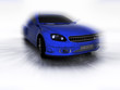 3D render of blue car