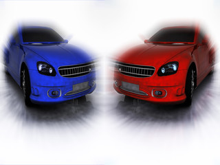 Blue and red car in motion