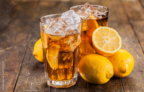 Lemon Ice Tea on wooden table
