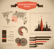Brown and red Vector retro / vintage set of Infographic elements