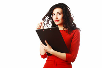 Beautiful woman with folder filling a form isolated