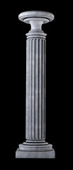 Classic Marble Column on black. Isolated High resolution 3D