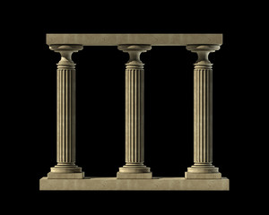 Three ancient columns of marble isolated