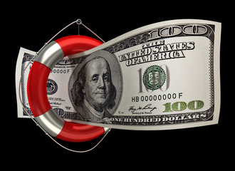 concept hundred dollars in a life buoy isolated