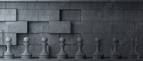 Pawns is ancient style Realistic 3D illustration