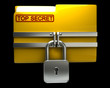 Folder with closed padlock (Top secret) isolated on black