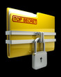 Folder with closed padlock (Top secret) isolated