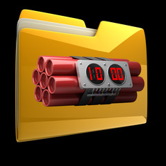 Yellow folder with Explosives alarm clock isolated on black
