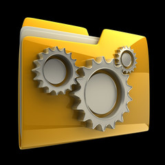 folder icon with gear wheels, over black background