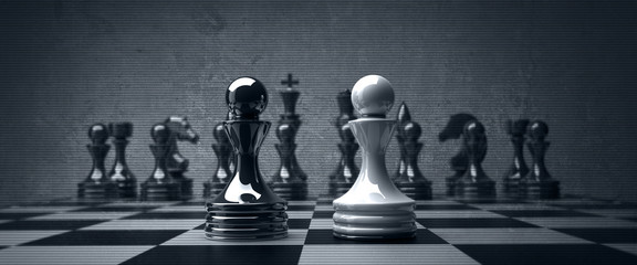 Black vs wihte chess pawn background. high resolution © Iaroslav Neliubov