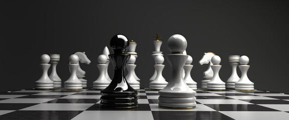 Black vs wihte chess pawn background © Iaroslav Neliubov